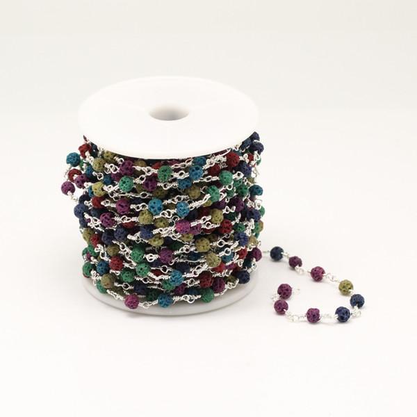 4mm, catena di perle rotonde di pietre laviche di colori misti, collana di gioielli a catena di gemme arcobaleno placcato argento, 5 metri