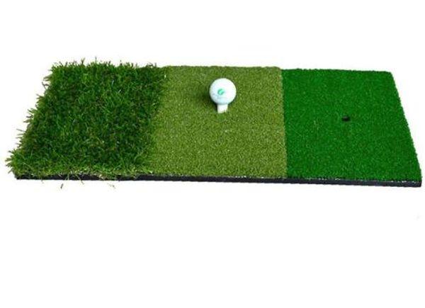 top popular 12''x24''Golf Hitting Mat Indoor Outdoor Backyard Tri-Turf Golf Mat with Tees Hole Practice Golf Protable Training Aids 2019