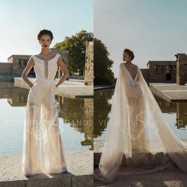2019 Victoria Soprano Wedding Dresses With Wraps Jumpsuits Lace Sequins Beads Backless Bridal Gowns Plus Size Beach Boho Vestido De Novia