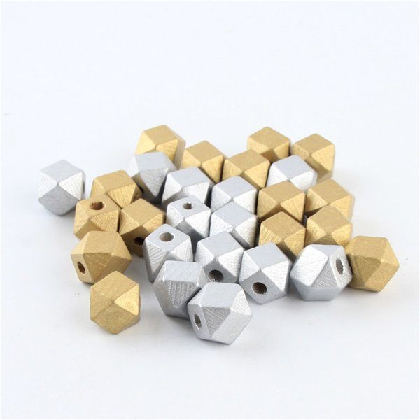 for jewelry 12mm 14mm Gold/Silver Wooden 50pcs/lot Polygon Wood Beads for Jewelry Making DIY Pacifier Clip Attachment