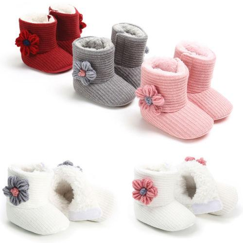 Hot Princess Baby Girl Pudcoco Snow Boots Solid Color Mid Calf Shoes Prewalker Booties Infant 3D Floral Brand New Boots 2019