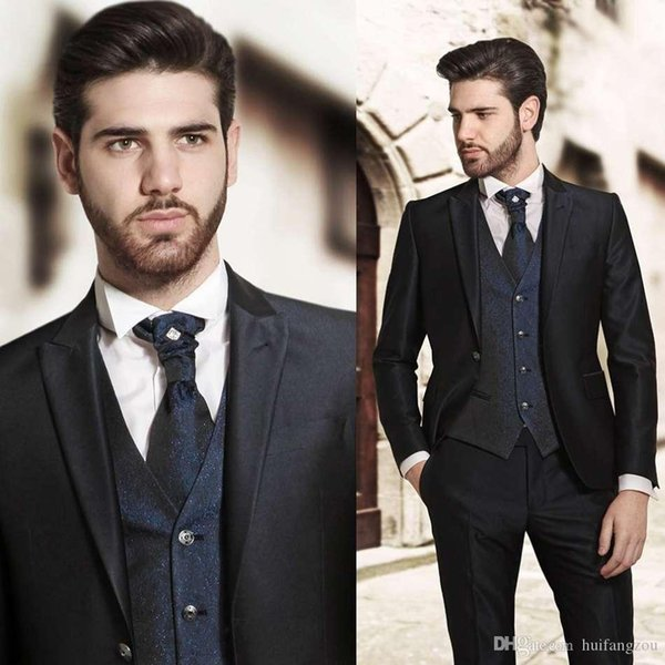 Top Quality Mens Designer Suits With Peaked Lapel Three Pieces Groom Tuxedos for Weddings 2018 Best Man Suits Custom Made(Jacket+Vest+Pants)