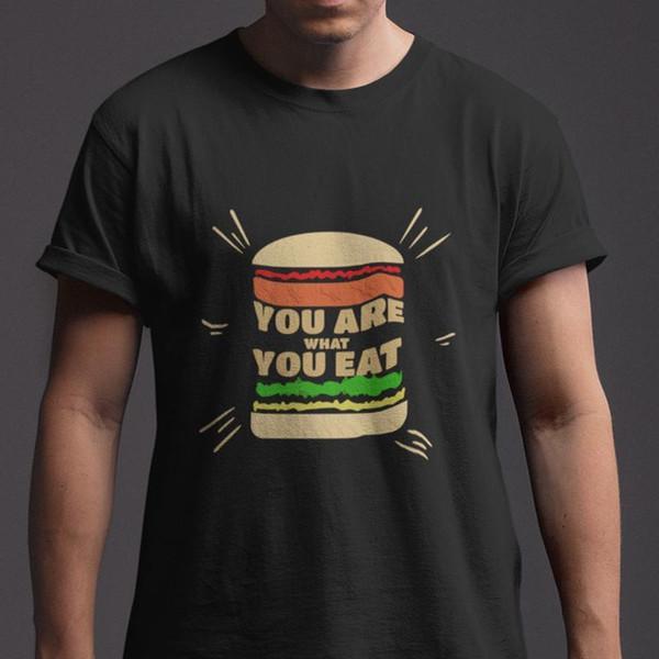 USTED ES LO QUE COME BURGGER HOMBRE CAMISETA NEGRA TAMAÑO S-5XL tamaño discout nueva camiseta