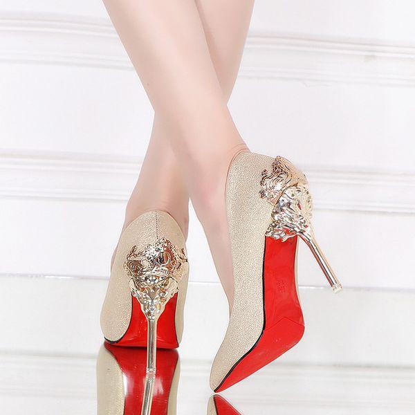 Luxus Frauen Pumpt Rote Untere Hohe Absätze Poined Toe Designer Metallschnalle Damen Kleid Schuhe Abendschuhe Q-147