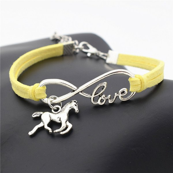 Fashion Womens Mens Silver Infinity Love Running Horse Pendant Bracelets Handmade Yellow Leather Suede Velvet Rope Jewelry Mujer Accessories