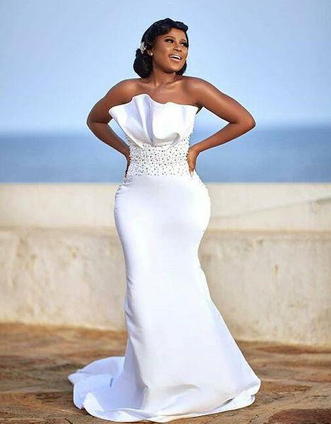 2019 Robes de mariée sirène sud-africaines froncées tache robe de noiva avec train détachable train grande écharpe perlée plus la taille Robes de mariée