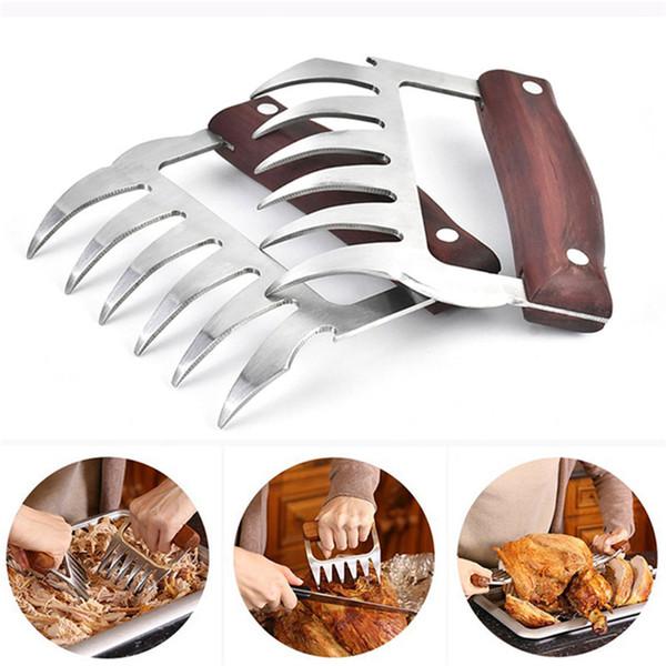 Metal Meat Garras inoxidável Forks Carne de aço com punho de madeira Ferramentas para churrasco Carne Shredder Garras de cozinha