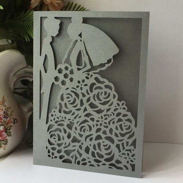 20Pcs /Lot Bride And Groom Wedding Invitation Card Fancy Dress Party Grand Events Invitations Card sDecoration Lace Wedding