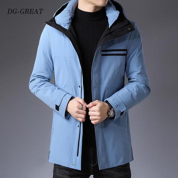 2019 Winter Down Coat Men New Fashion Casual Hooded Thick Warm Long Coat Fur Jacket Men Overcoat Warm Snowwear Down Jackets T190913