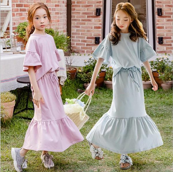 Два цвета девушки Ins корейский стиль Хлопок Повседневные платья Set Flare рукавом футболки и юбка Set Детский летний Короткий набор рукава