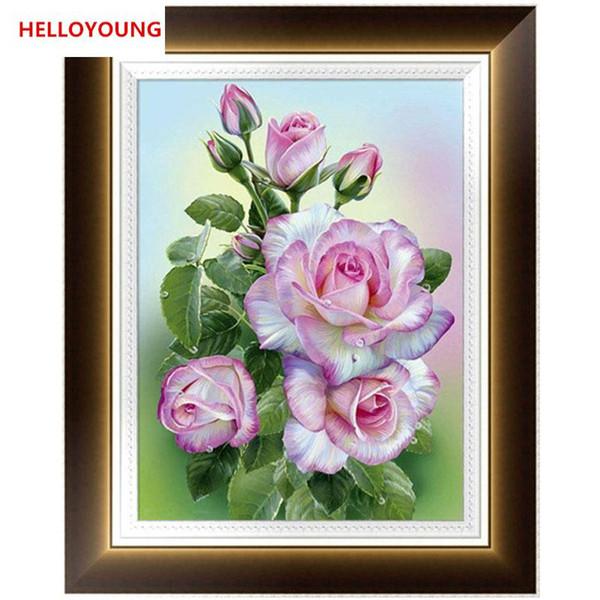Fai da te 5D parziale diamante ricamo Rosa rosea diamante Pittura Punto Croce Kit mosaico del diamante della decorazione della casa