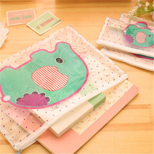 Cartoon Clear PVC Storage Bag Totoro Elephant Kitty Pencil Case File Folder Documents Filling Bag Office School Suppllies Stationery Bag