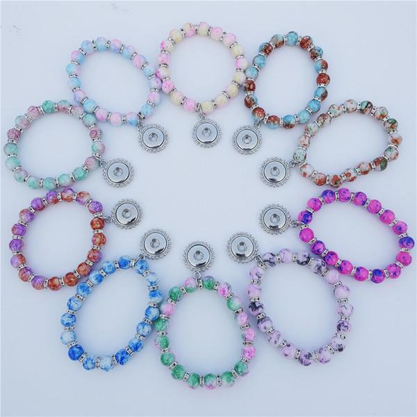 12mm botones de presión granos de cristal pulsera del espaciador del Rhinestone muchachas de los niños de 15 cm de longitud mezcla de la joyería de la pulsera de los niños Colores
