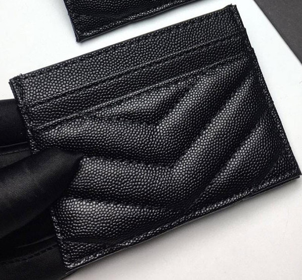 best selling 2020 new fashion Card Holders caviar woman mini wallet Designer pure color genuine leather Pebble texture luxury Black wallet with box