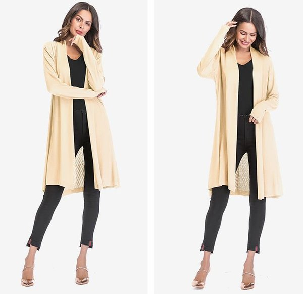 2018 Women Clothes Women Thin Section Openwork Sweater Coat Solid Color Drape Cardigan Shawl Jacket 4 Color EUR Size M-XL