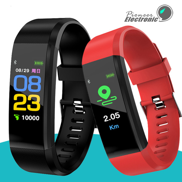 best selling Color Screen ID115 Plus Smart Bracelet Fitness Tracker Pedometer Watch Band Heart Rate Blood Pressure Monitor Smart Wristband