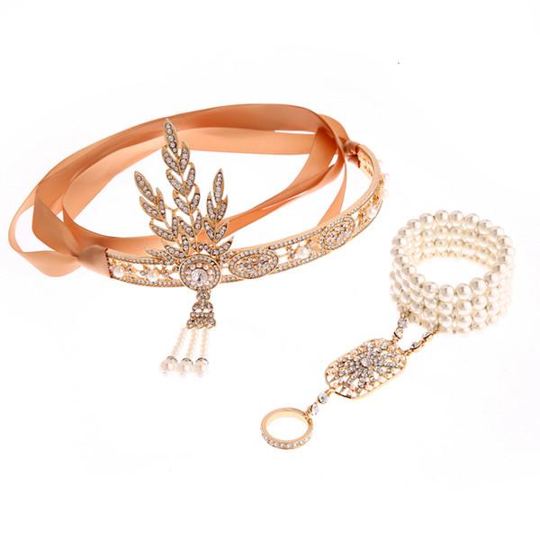 Great Gatsby Headbands pearl Ring Set Fancy Party Costume Accessories Wedding Bridal Headwear Bracelets Ring One-piece Pendant