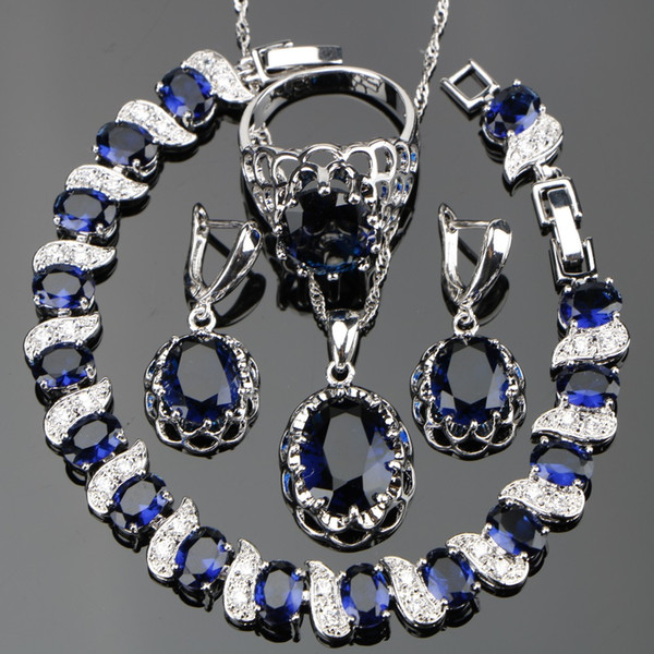 Silver 925 Costume Blue Zircon Jewelry Sets Women Wedding Jewellery With Bracelets Earrings Pendant Necklaces Rings Set Gift Box