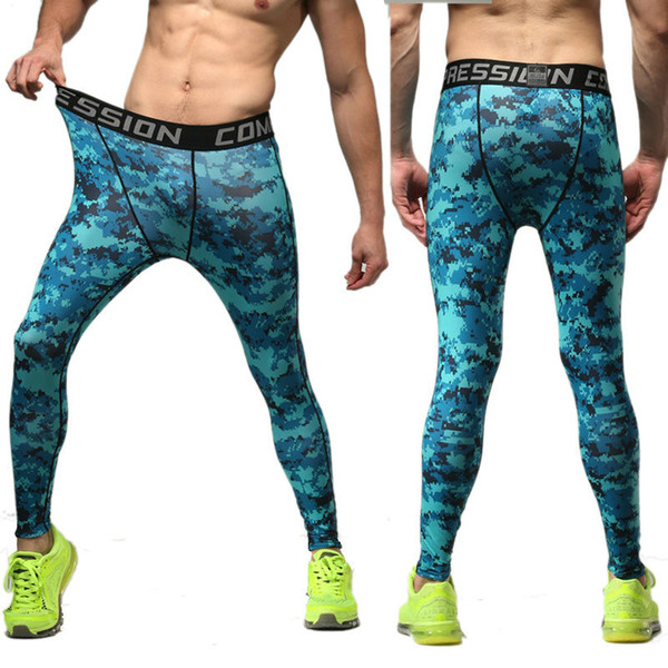 Wholesale- Profession men's compression pants Camouflage fitness stretch quick-drying joggers trousers exercise tight pants skin leggings