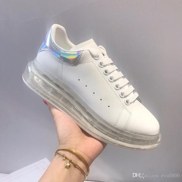 sapatos de designer de moda de luxo sapatilhas de couro de qualidade homens mulheres top 3M reflexivo Plataforma sapatos brancos altura x19081110