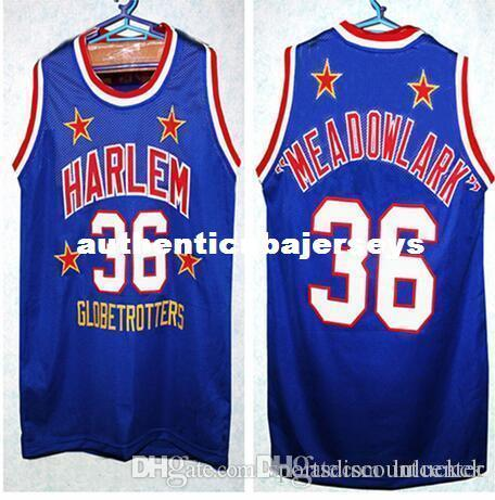 Factory Outlet Cheap custom MEADOWLARK LEMON #36 HARLEM GLOBETROTTERS BASKETBALL JERSEY Blue Embroidery Stitched Personalized Custom Jerseys