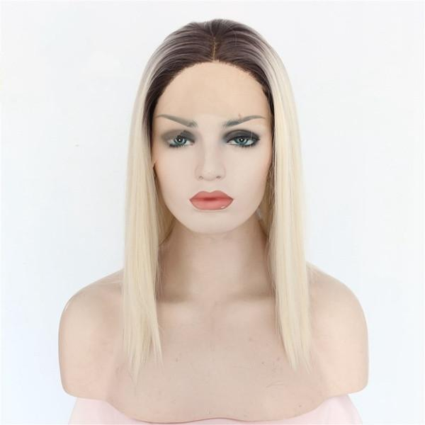 Free Shipping Middle Part 2 Tones Dark Roots Ombre Light Blond Short Bob Style Glueless Heat Resistant Synthetic Lace Front Wigs for Women