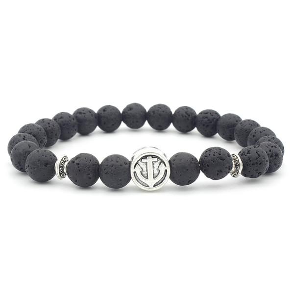 Anchor Charms 8MM Black Lava Stone Beads Bracelet Volcano Rock DIY Essential Oil Diffuser Bracelet for Women Men Jewelry