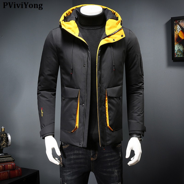 PViviYong 2019 Winter high quality white duck down jacket short coat hooded slim parka men coat 8879