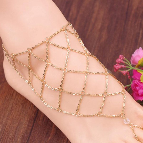 Fashion Fishing mesh anklet lozenge chain mittens anklet alloy women Instep barefoot sandals chain beach foot jewelry cheap 160243