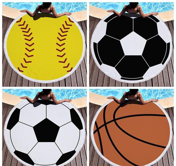 Баскетбольная баскетбольная кисточка с круглым пляжным полотенцем футбольное волейбольное полотенце для ванной Полиэфирное волокно Быстрая сушка Плавательная ванна Спортивные халаты