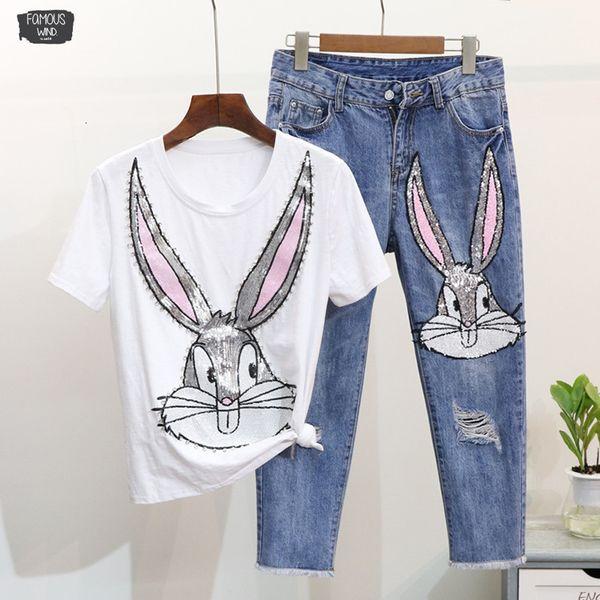 Beiläufige Frauen Pailletten T Shirts Hosen gedruckt Cartoon-Klagen Frau lose T-Shirt wadenlangen Jeanshose Sets
