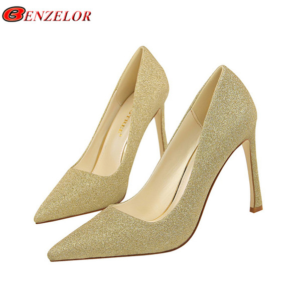 Dress Benzelor Sequins Pointed Toe Shoes Women Pumps Woman Elegant Bling High Heels Female Ladies Sexy Party Wedding Golden Gold Heel