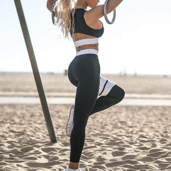 Женский спортивный костюм Yoga Набор Спортивный костюм Топ Леггинсы Дышащий для бега Фитнес B2Cshop