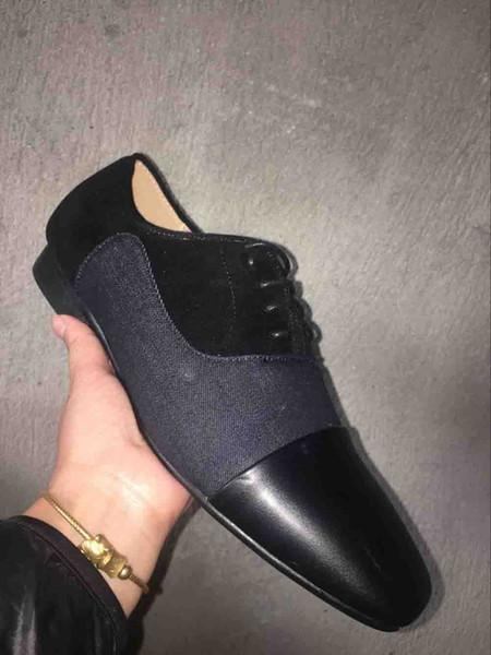 Sapatos de Festa de Casamento Negócio Cravado Mocassins Fundo Vermelho Greggo Orlato Sapatos de Couro Denim Oxford Plana Sapatos de Camurça Para Homens Deslizamento Em Fl