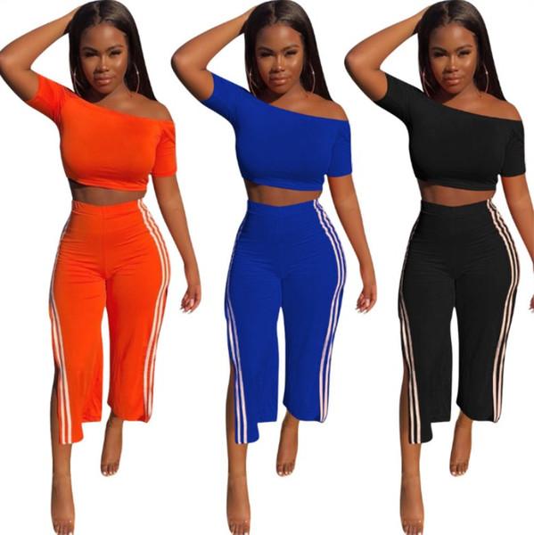 Vêtements pour femmes tenues à manches courtes ensemble 2 pièces sexy split pantalon survêtement jogging costume de sport vêtements de sport sweat-shirt pantalon klw0690