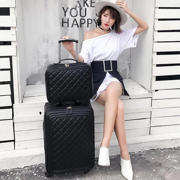 Fashion PU trolley suitcase set travel luggage women trolley case boarding suitcase spinner carry on high quality brand luggage