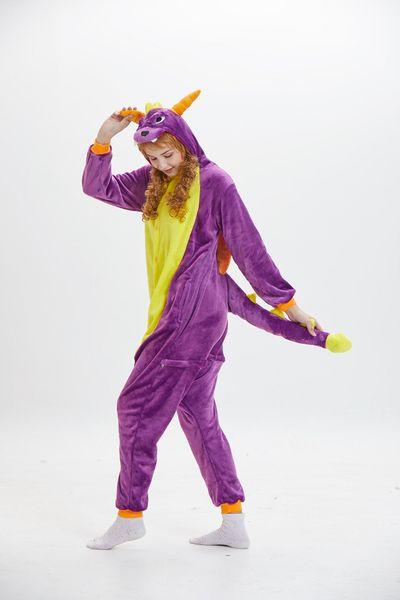 Cartoon Dinosaurier-Pyjamas für Unisex mit langen Ärmeln mit Kapuze Erwachsene Homewear Maskottchen Kostüme Schlaf tragen Nacht Party tragen warm
