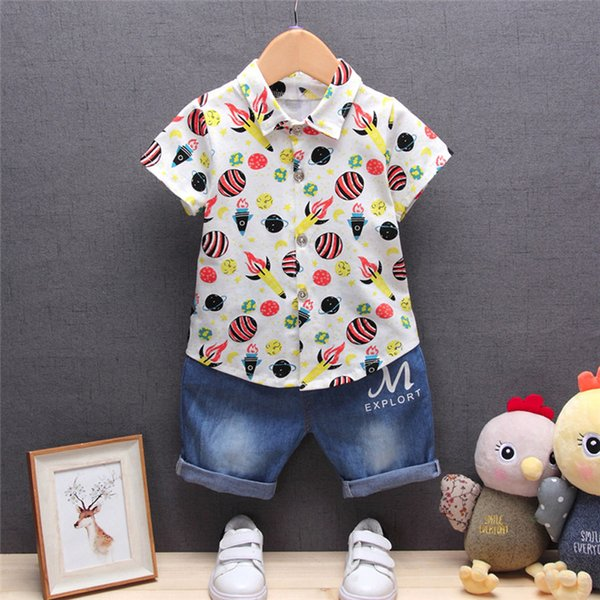2PCS Baby Boys Sets Newborn Infant Baby Boys Short Sleeve Rocket Print T-shirt Tops+Denim Pants Sets Baby Boys Clothes M8Y16