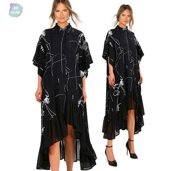 Kleid 2019 Frauen-Sommer-Plus Size schwarzes beiläufiges Streifen-Kleid mit Rüschen Unregelmäßige Shirt Print Damen-Partei-Verein Robe Femme 3751