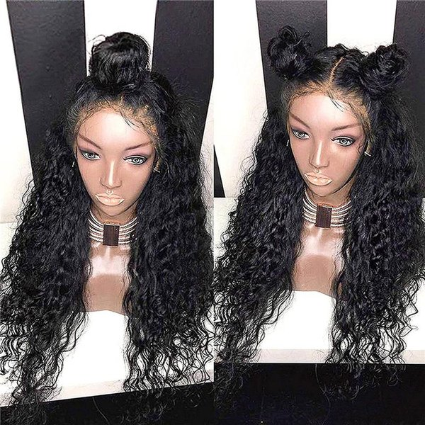 Fashion beautiful new arrival unprocessed virgin remy human hair long natural color deep wave full/front lace cap wig for women