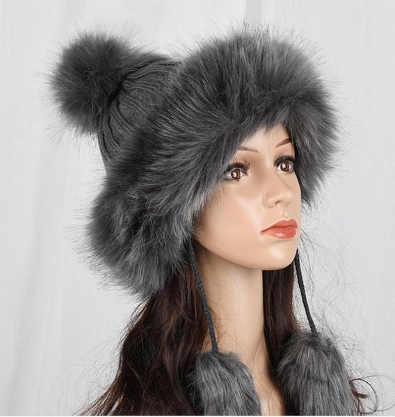Hat Female Women Raccoon Wool Fox Fur Pom Poms Warm Knitted Casual High Quality Vogue Winter Hats Caps Skullies Beanies S1020