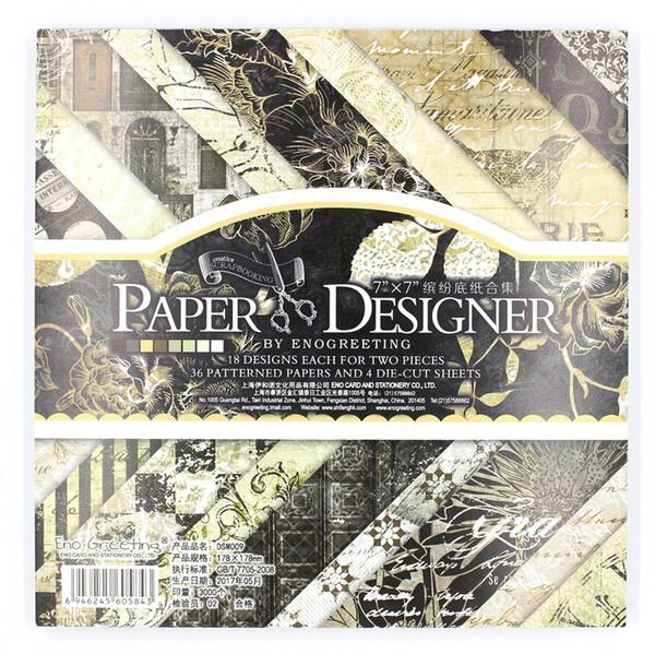 Compre Crapbooking Estampado Craft Paper YPP CRAFT 36 Hojas Lote Vintage Black Floral Pattern Creativo Papercraft Arte Papel Scrapbooking Hecho A