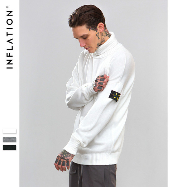 INF men's autumn and winter hip hop new fashion tide brand military style armband solid color high collar cotton sweater casual sweater