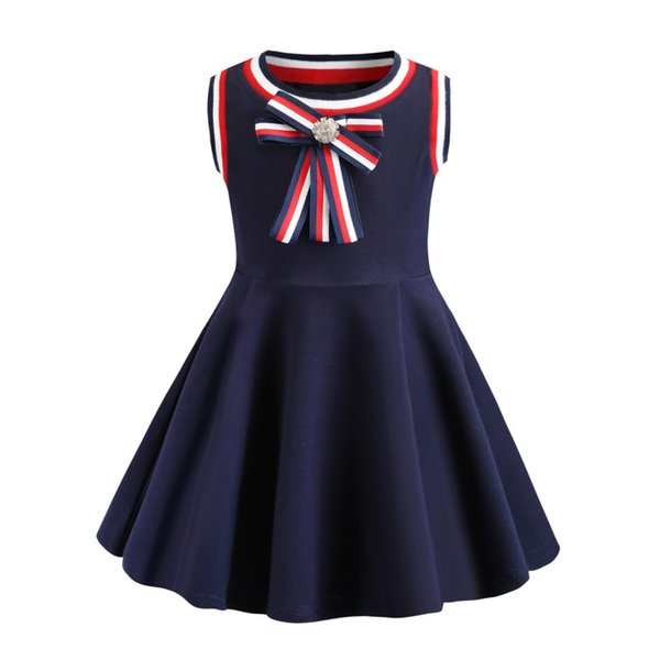 Retail Baby girl dresses summer bowknot cotton casual knitted vest dress Children sleeveless pleated dress boutique kids designer clothes