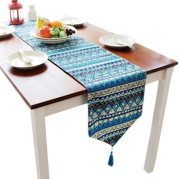 30x180cm Modern Floral Printed Table Runner Bohemia Table Cover For Wedding Banquet Party Home Decor TV Cabinet Bed Towel