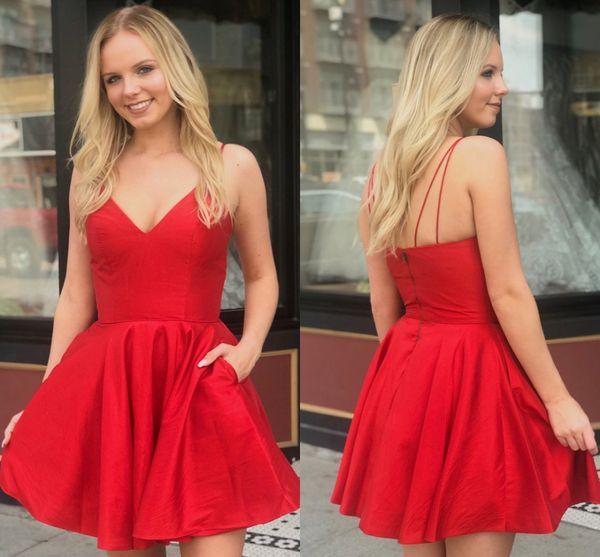 Kırmızı Spagetti sapanlar Saten A-Line Mezuniyet Elbiseleri 2020 Ucuz Dantelli Cep Diz Boyu Kısa Parti Balo Mezuniyet Elbiseleri BM1547
