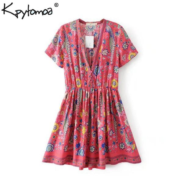 Boho Chic Summer Vintage Floral Birds Print Mini Dress Women 2019 Fashion Short Sleeve V Neck Beach Dresses Femme Vestidos Y19052901