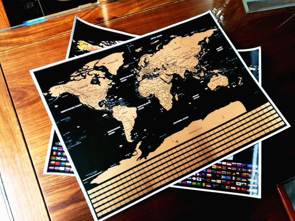 Children's geography knowledge education erase black scratch Map Wall Sticker world scratch poster foil layer coating World flag Map