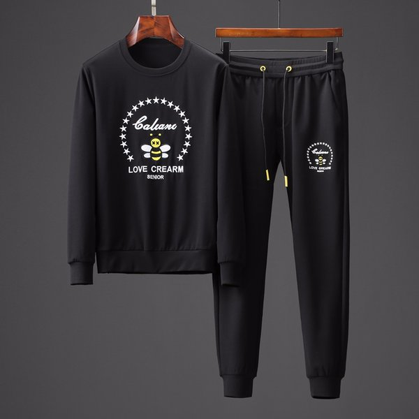 2019 new sports autumn suit fashion sports pants male Korean version of the trend running new sweater handsome two-piece male 19550