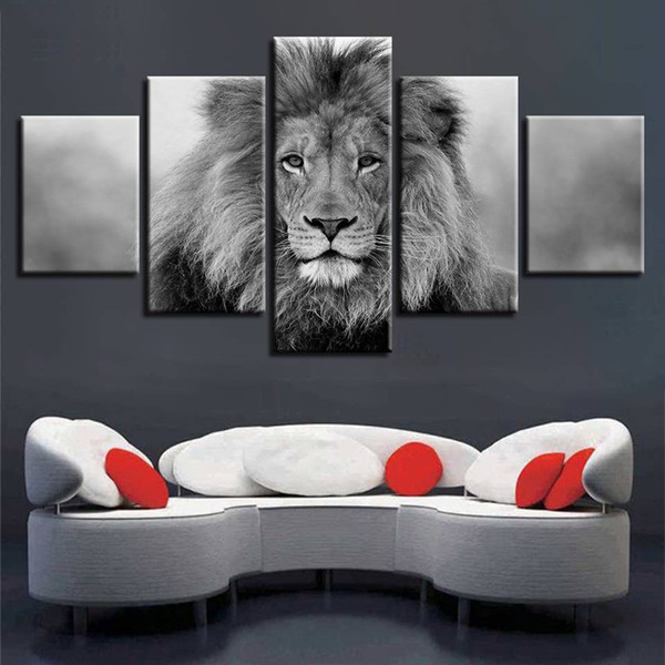 Canvas Pictures Modular Wall Art 5 Pieces Animal Lion Painting Living Room HD Prints Black And White Poster Home Decor(No Frame)